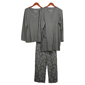 Carole Hochman Femmes-apos;s Pyjama Set Paisley Interlock 3-Piece Gray A294061