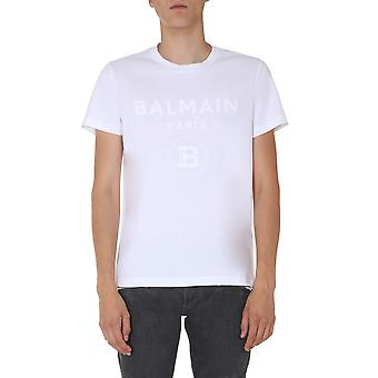 Balmain Uh01601i3590fa Mænd's White Cotton T-shirt