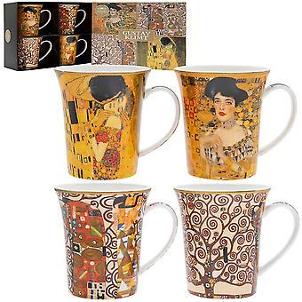 Gustav Klimt Diseño Conjunto de 4 tazas en caja todos los diferentes patrones