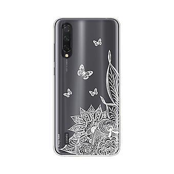Hull For Xiaomi Mi 9 Soft Lite Mandala Blomst Og Hvite Sommerfugler
