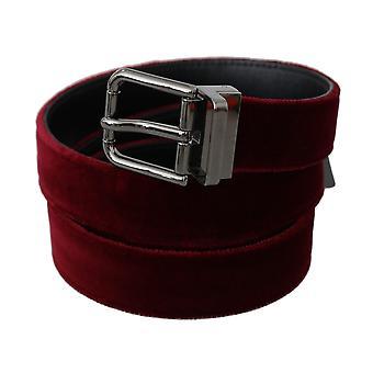 Dolce & Gabbana Bordeaux Velvet Polished Silver Buckle Belt BEL60323-110