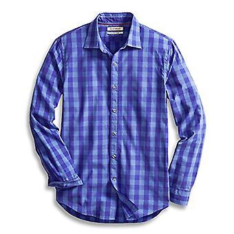 Goodthreads Men&s Slim-Fit Long-Sleeve Gingham Plaid Poplin Shirt, Niebieski /Purpl...