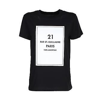Karl Lagerfeld 205w1711blk Camiseta de Mujer's de Algodón Negro