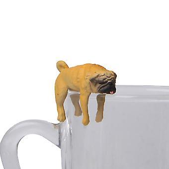 Realistisk mini pug hund figur hengende på kopp rim diy fairy hage tilbehør