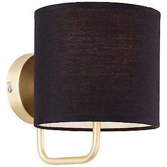 BRILLIANT-lamppu Clarie seinävalaisin messinki harjattu/musta   1x D45, E14, 40W, sopii tippalamppuihin (ei sisälly pakkaukseen)