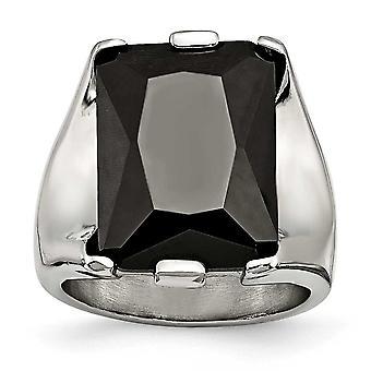 ステンレス鋼ブラックCZキュービックジルコニアシミュレートされたダイヤモンドポリッシュリングジュエリーギフト - リングサイズ:6〜9