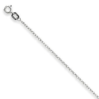 14K White Gold Solid Polished Carded Cable Rope Chain Necklace 0.95mm Spring Ring Jewelry Gifts for Women - Length: 16 t