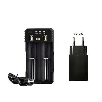 18650 Battery Charger 3.7 V For 18650 26650 21700 Rechargeable Battery- Smart Charger Eu Usb Cable
