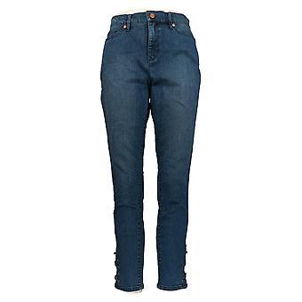 Martha Stewart Mujeres's Jeans 5-Pocket W/ Encaje Tobillo Detalle Azul A307715