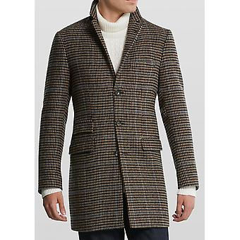 Diapan Beige, Brown & Blue Houndstooth Check Pattern Overcoat