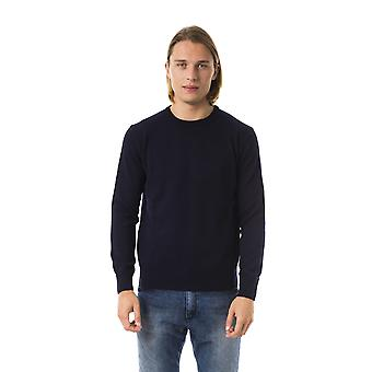 Uominitaliani Blue Crew Neck Long Sleeve Sweater