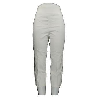 Nina Leonard Women's Pants Pull-On Scallop-Hem Cropped White 660-168
