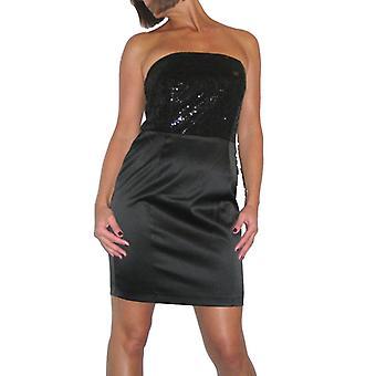 Mujeres's Sexy Bustier lentejuela Mini vestido señoras satinado elegante brillante brillo brillante brillante boda cóctel fiesta Bodycon vestido negro tamaño 10