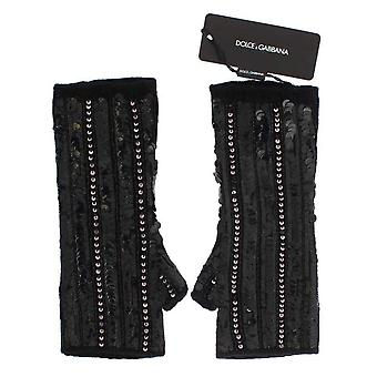 Dolce & Gabbana μαύρο πλεκτό Κασμίρ πούλιες γάντια -- LB66675013