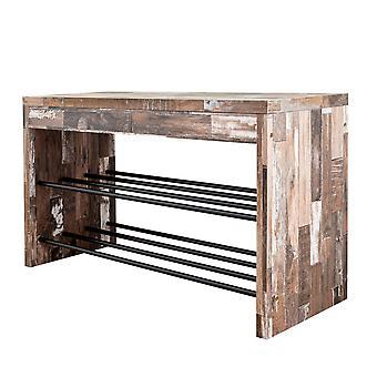 Danya B. Banc décoratif industriel de chaussure dans la finition en bois affligé avec deux supports de stockage en métal