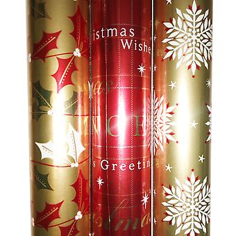 3 x Foil Metalic Red Silver Gold Gift Wrapping Paper Roll Birthday Anniversary Occasion