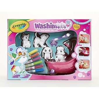Crayola washimals colour and wash pets playset - creative colouring crafts kit, gift set with washab