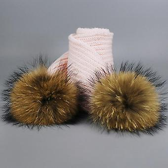 Girl Pom Pom Beanie Warm Knitted Bobble Fur Hat And Scarf Set