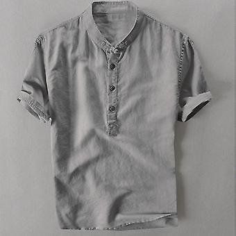 الصيف الرجال بارد رقيقة طوق قابل للتنفس شنقا قميص القطن التدرج