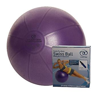 Fitness Mad 500kg Home Fitness Exercise Gym Swiss Ball & Pump Purple - 55cm