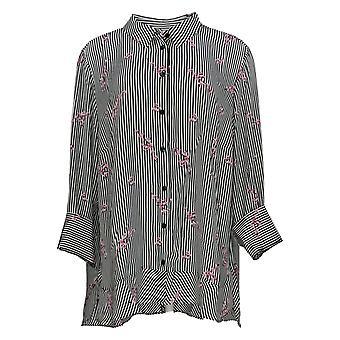 Joan Rivers Women's Plus Top 22WFloral Striped Shirt Black A309290