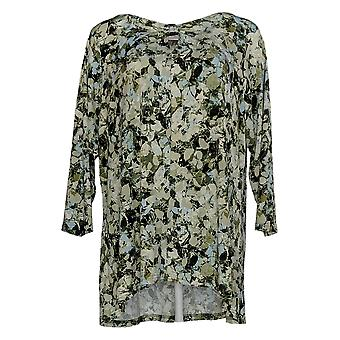 Belle by Kim Gravel Women's Plus Top Abstract Leaves Hi-Low Green A309957