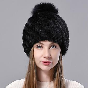 المرأة محبوك فولز Woolen بطانة فوكس فرو بومبوم قبعة الشتاء الإناث الدافئة