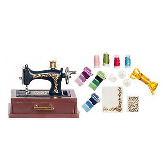 Dolls House Black Sewing Machine Mounted With Drawer & Accessory Set