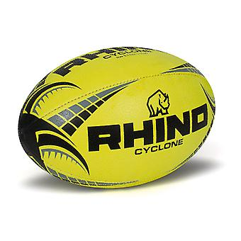 Rhino Cyclone Rugby League Union Training Ball Fluo Yellow