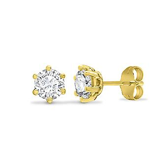 Jewelco Londyn Solid 9ct Yellow Gold White Round Brilliant Cubic Cyrkonia 6 Claw Solitaire Heavy Weight Stud Kolczyki, 4mm