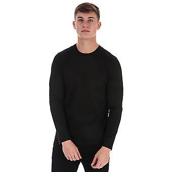 Menn's Armani Eagle Logo Langermet T-skjorte i svart