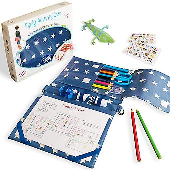 Pipity travel games, puzzles, arts and crafts for boys and girls. compact carry case with art kit an
