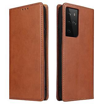 Para Samsung Galaxy S21 Ultra Caso de cuero Flip Cartera Folio Cover Marrón
