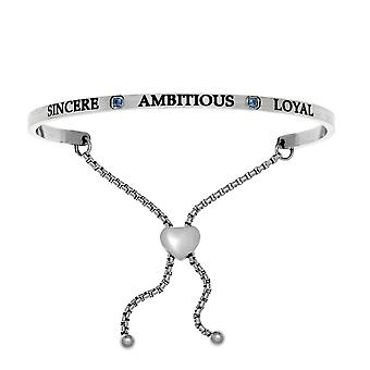 """Intuitions Stainless Steel Sincere, Ambitious, Loyal September Dark Blue Birthstone  Bangle Bracelet, 7"""""""