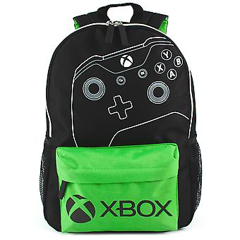 "XBOX Backpack For Kids & Adults | Controller & Logo School Rucksack 16"" | Black & Green Gamer Bag With Adjustable Straps"