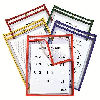 C-Line Super Heavyweight Plus Reusable Dry Erase Pockets - Study Aid, Assorted Primary Colors, 9 X 12, Box Of 25