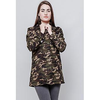 Camisa de camuflaje de manga larga Ejército look mangas largas - verde y marrón