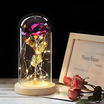 Artificial Eternal Rose Led Light Beauty In Glass Cover Christmas Home Decor