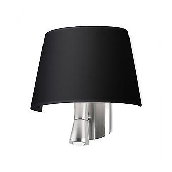 Lámpara De Pared Balmoral Con Luz De Lectura, Níquel Satinado Y Pantalla Negra