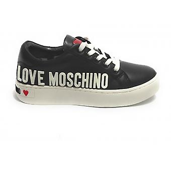 Shoes Woman Love Moschino Sneaker Black Leather Bottom Cassette D21mo15