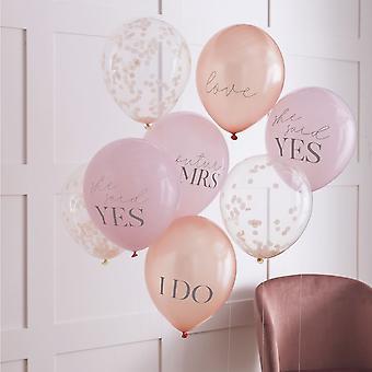 Roze, Rose Gold & Blush Hen Party Confetti Ballonnen - Bruidsdouche x 8