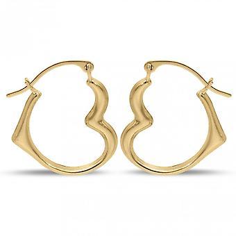 Ikuisuus 9ct kulta 20mm avoin sydän muotoiltu kreoli vanne korvakorut