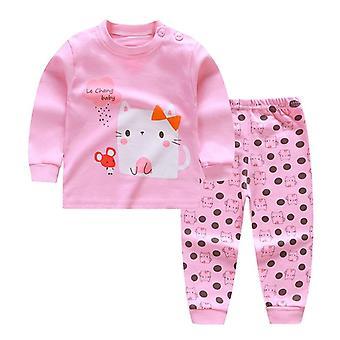 Cartoon Print Baby Piżamy Zestawy Cotton Sleepwear Long Sleeve Tops + spodnie