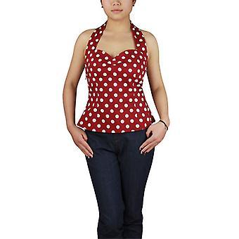 Chic Star Plus Størrelse 50's Polka-Dot Halter-Top i rødt