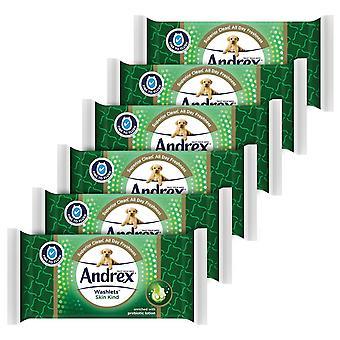 6x Andrex Washlets Piel Tipo Moist Flushable Inodoro Toallitas con Loción Prebiótica
