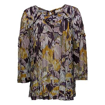 LOGOTIPO por Lori Goldstein Women's Top Printed Lace c/ Smocking Purple A367632