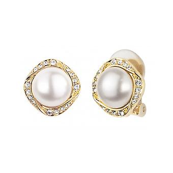 Traveller Clip Earrings - White Pearls - 22ct Gold Plated - 114197 - 808