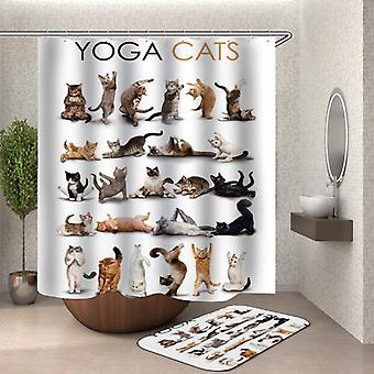 חתולי יוגה וילון מקלחת