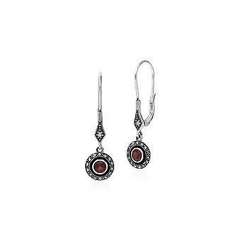 Art Deco Style Round Garnet, Marcasite & Enamel Drop Earrings in 925 Sterling Silver 214E860703925