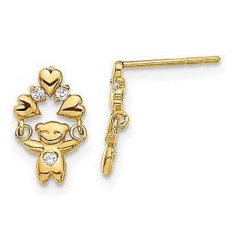 14k Dangle Polert CZ Cubic Zirconia Simulert Diamant TeddyBjørn Post Øredobber Mål 11x6.75mm Brede Smykker Gaver f